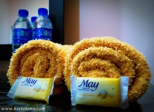 Welcome drink, Bar soap & towel